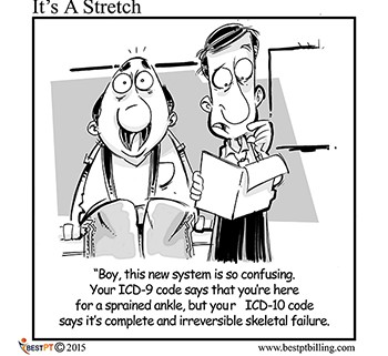 physical therapy billing software ICD-10 cartoon