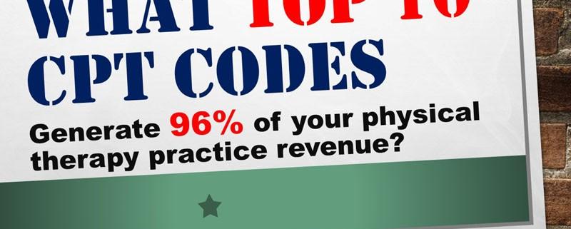 Top 10 PT CPT codes