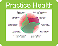 Practice health monitor radar chart.